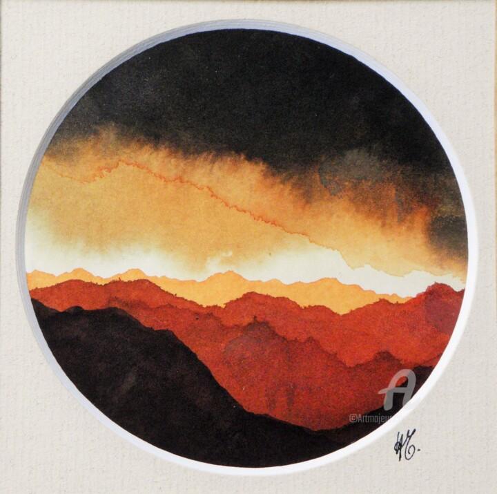 Paysage de Montagnes et Nuées ocre et rouge