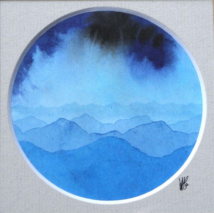 Paysage de Montagnes et Nuées rond bleu03