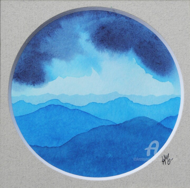 Paysage de Montagnes et Nuées_rond bleu02