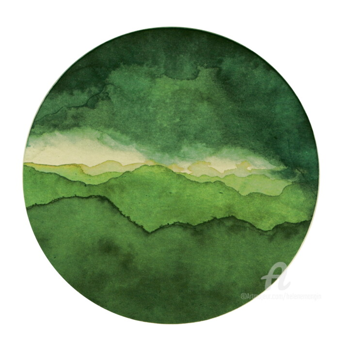 Paysage de Montagnes et Nuées_rond_vert01