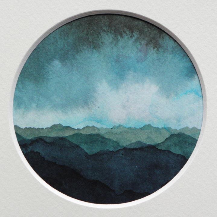 Paysage de Montagnes et Nuées_rond_bleu-vert01