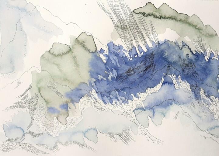 Paysage imaginaire vert et bleu N°3