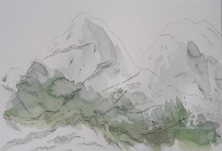 Paysage de montagnes verts glacé N°4